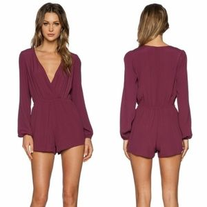 NWT Lovers + Friends Maroon V Neck Romper S